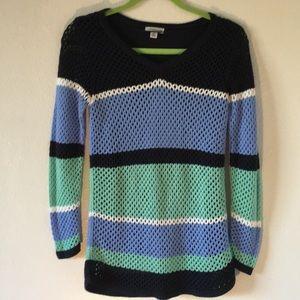 Croft & Barrow crochet striped sweater sz S liner